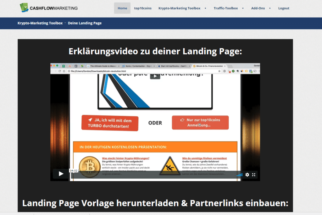 KryptoMarketing-Toolbox Landingpage
